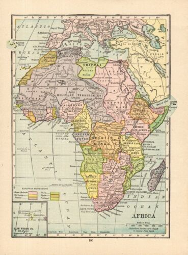 1918 Antique Africa Map Vintage Small Size Map of Africa  smap 9239