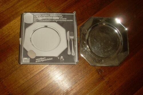 Vintage Retro Deco Style BMF West Germany Silver Plate Large Octagonal Plate