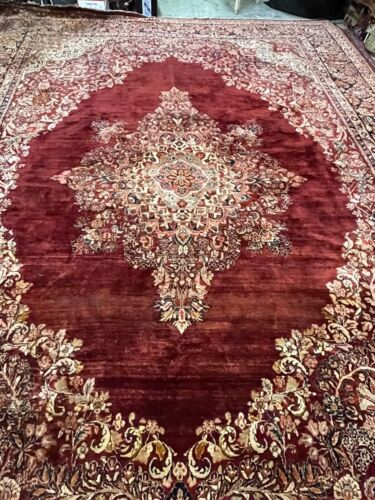 Auth: 30's Antique Sarougk Elegant Botanical Shimmering Wool Beauty RED 10x14 NR