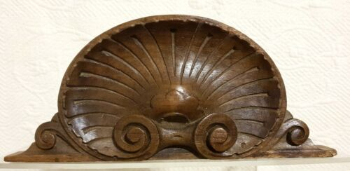 Decorative scroll shell carving pediment Antique french architectural salvage