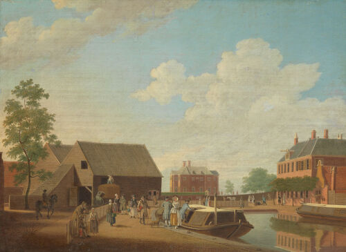 """high quality oil painting handpainted on canvas""""canal barge """"N14757"""