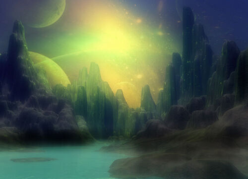 """perfect 36x24 oil painting handpainted on canvas""""Planet Fantasy""""NO4210"""