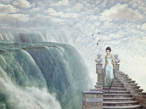 """oil painting """"A woman who walks down the steps of heaven""""@NO7458"""