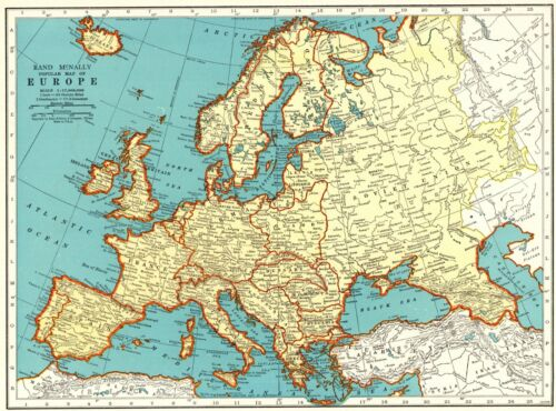 1943 Antique Europe Map Vintage Collectible Map of Europe Gallery Wall Art 9247