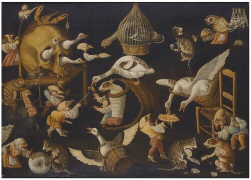 """oil painting """"A grotesque scene with animals playing and a dog wrapped """"@N13261"""