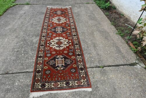 Caucasian Design Hand Knotted  Rug Runner 2.8x10 Nice