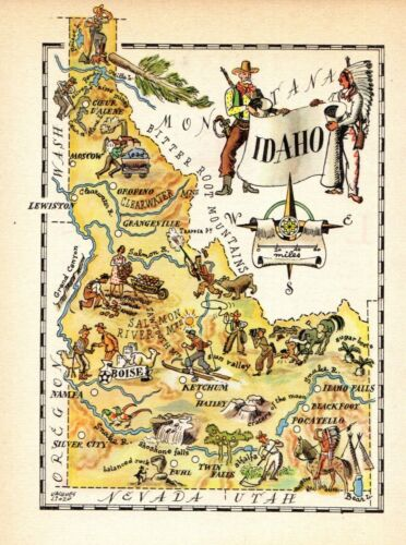 1940s Antique IDAHO State Map Vintage Animated Map of Idaho Picture Map 7567