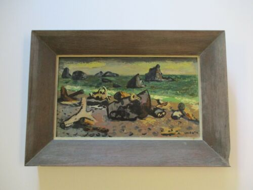 1940'S ERLE LORAN OIL PAINTING WITH INCREDIBLE FRAME BEACH COASTAL SEA LANDSCAPE