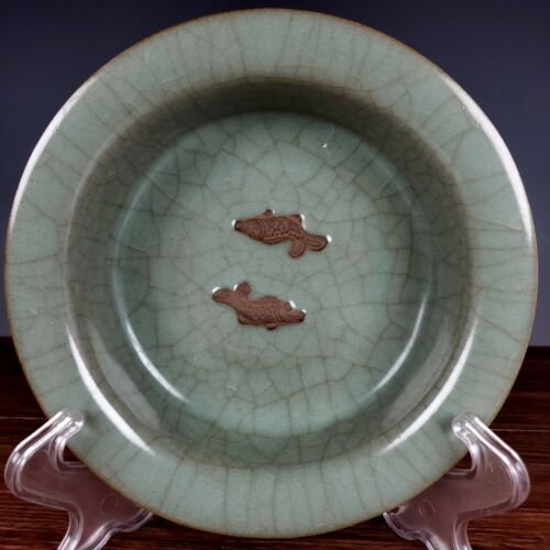 """7.3"""" Antique Song dynasty Porcelain guan kiln Ice crack double fish Brush Washer"""