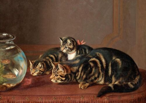 """oil painting handpainted on canvas """"Cats Watching Fish In A Fishbowl """"N3870"""