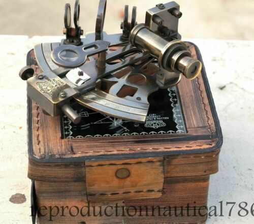 Solid Brass Antique Finish Nautical Survey Maritime Navy Sextant W/ Leather Box