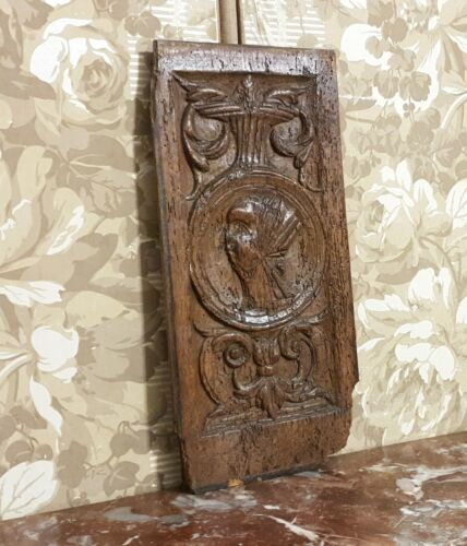 16 th c Angel medieval lady carving panel Antique french architectural salvage