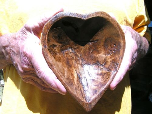 Hand carved wooden heart shaped dough bowl 2334