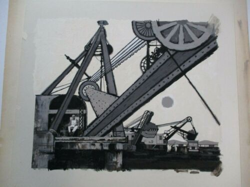 ANTIQUE VINTAGE INDUSTRIAL WPA PAINTING OLD TECHNOLOGY FACTORY MYSTERY ARTIST