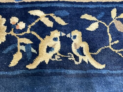 Auth:  Antique Chinese Rug  Peking  Love Birds  Blue Jeans Wool Beauty  8x10. NR