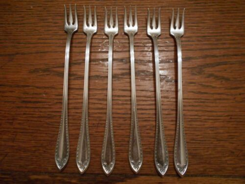6 Community Silver Plate 1910 SHERATON Pattern Seafood Cocktail Forks  4272