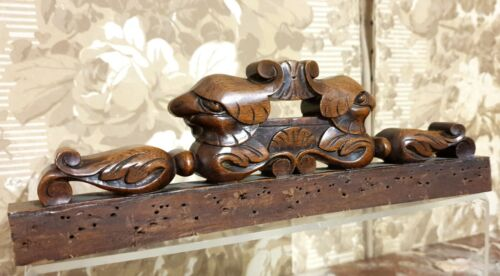 Green man scroll leaves carving pediment Antique french architectural salvage