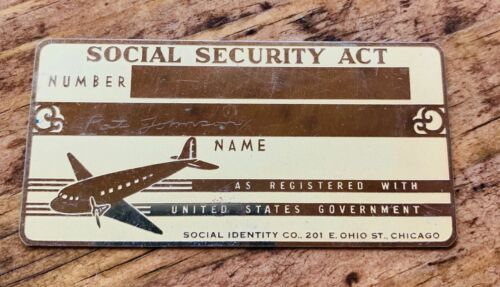 1930s Brass / Metal SOCIAL SECURITY ACT Card ~ Vintage Airplane