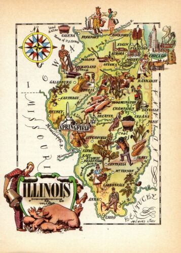 1940s Antique ILLINOIS State Picture Map Vintage Cartoon Map of Illinois 8114