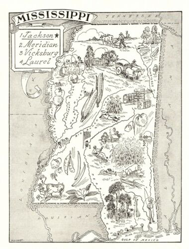 1950s Vintage MISSISSIPPI State Map Animated Mississippi Picture Map BW 6817