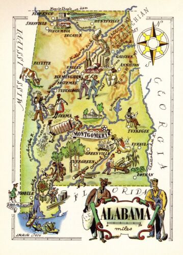 1950s  Animated ALABAMA State Map Vintage Picture Map of Alabama 6966