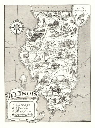 1950s Vintage ILLINOIS State Map Animated Illinois Picture Map Art BW 6822