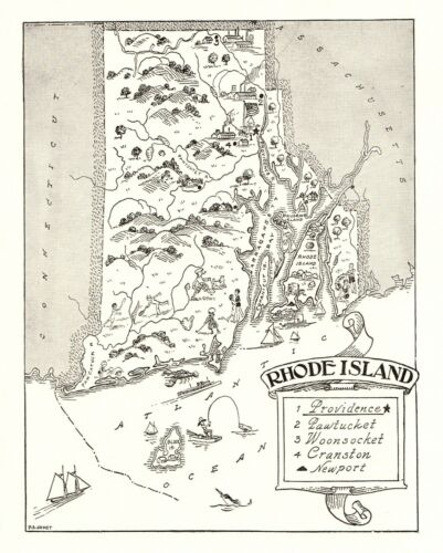 1950s Vintage RHODE ISLAND State Map Animated Rhode Island Picture Map BW 6807