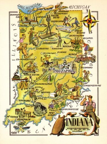1940s Antique INDIANA State Map Colorful Animated Picture Map of Indiana 8113