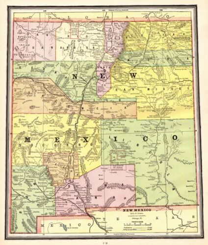 1902 Antique NEW MEXICO Map George Cram Atlas Map of New Mexico State Map 5221