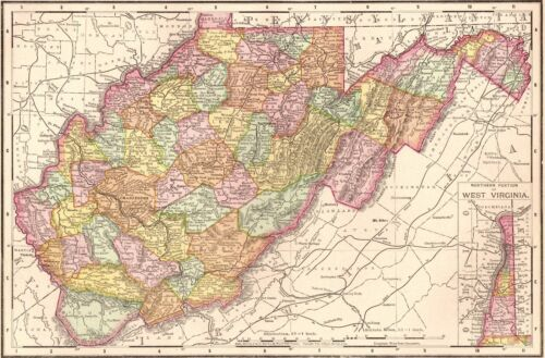 1900 Antique WEST VIRGINIA MAP Vintage Map of West Virginia State Map 4108