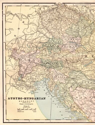 1886 Antique AUSTRIA Map HUNGARY Map Collectible Map Gallery Wall Art #3054