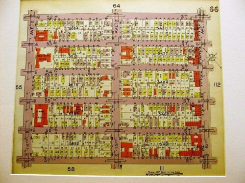 BROOKLYN MAP 1929 BORO PARK 14th 15th 16th AVE.  Matted