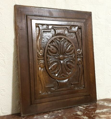 17 th century Rosette flower carving panel Antique french architectural salvage