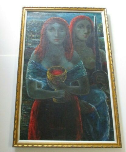 LARGE OIL PAINTING ANTIQUE MODERNIST EXPRESSIONISM PORTRAIT ABSTRACT CUBISM 1948