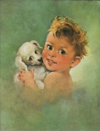 """Florence Kroger? Baby, Puppy, Never Was In A Frame, 11""""x8.5"""" Print 1950s"""