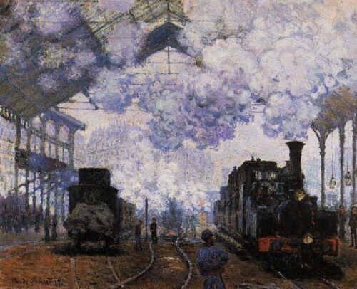"""Claude Monet Arrival of a Train Handmade Oil Painting repro 20""""x24"""""""