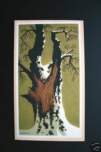 TREE TRUNK IN SNOW ~ EYVIND EARLE ~ Rare Vintage Xmas Greeting Card ~ Lovely