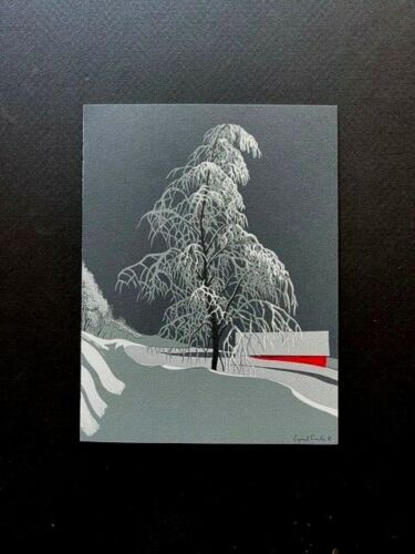 #424 Snow Covered Tree by Eyvind Earle VTG Irene Dash Xmas Greeting Card, Rare