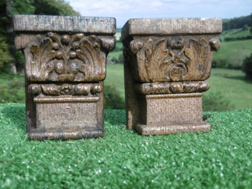 ANTIQUE PAIR 16thc ARCHITECTURAL OAK CARVED CORBELS WITH LEAF & FLOWERS