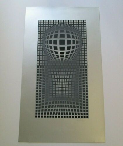 VASARELY SERIGRAPH RARE LIMITED EDITION  SIGNED ABSTRACT SLVER POP OP ART SILVER