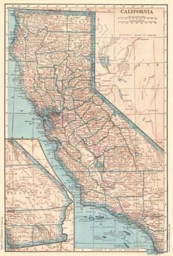 1925 Antique CALIFORNIA MAP Vintage State Map of California Wall Art 9441