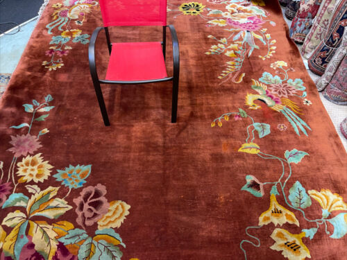 Auth: Antique Art Deco Chinese Rug  Spectacular Copper Silky Wool Beauty 9x12 NR