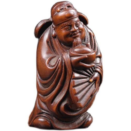 GY041 - 7X3.9X3.2 CM Hand Carved Boxwood Carving Netsuke: Wealthy Immortal