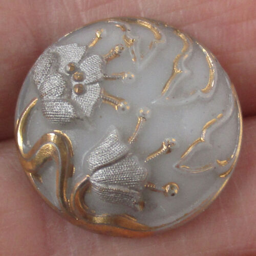 """3/4"""" Antique Victorian Glass Flower Button w Gold Luster and 4-Way Box Shank"""