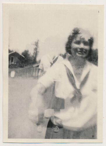 SAILOR GHOST GIRL EMERGES from SPIRIT WOMAN! 20's ABSTRACT photo DOUBLE EXPOSURE
