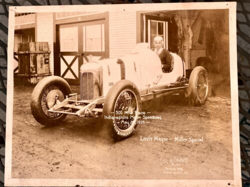 1929 LEGENDARY RACE CAR DRIVER LOUIS MEYERS MILLER SPECIAL INDY 500 PHOTO