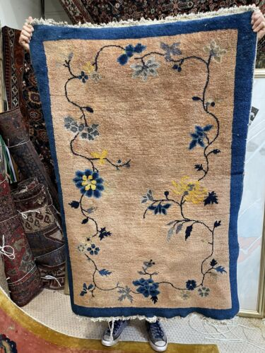 Auth: Antique Art Deco Chinese Rug   Sweet Estate Find Wool Beauty      3x5   NR