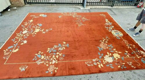 Auth: Antique Art Deco Chinese Rug  GORGEOUS  Pumpkin Silky Wool Beauty 12x14 NR