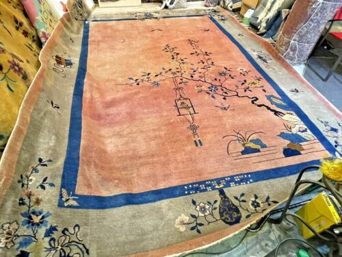Auth: Antique Art Deco Chinese Rug Architectural Parrot Timeless Beauty 10x13 NR