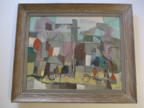 WILLIAM JACOBS ILLINOIS MODERNIST ABSTRACT CUBIST REGIONALISM PAINTING WPA RARE